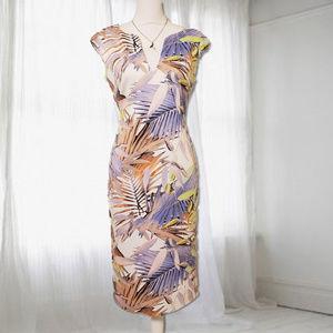 Vince Camuto Floral Scuba Midi Sheath Dress
